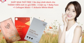 Suất Free 3 mặt nạ UGB: Baby Face, Collagen, Arbutin